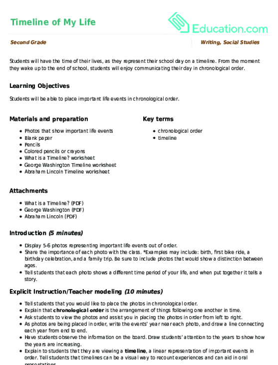 Timeline of My Life Lesson Plan Lesson Plan – Chronological Order Worksheets