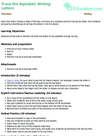 Trace the Alphabet Writing Letters Lesson Plan