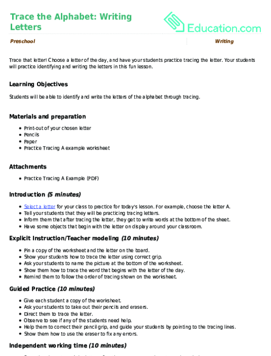 Preschool. Math · Lesson Plan. Trace The Alphabet: Writing Letters