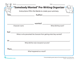 """Somebody Wanted"" Prewriting Organizer"
