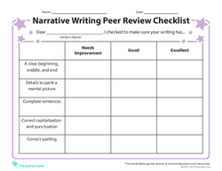 Narrative Writing Peer Review Checklist