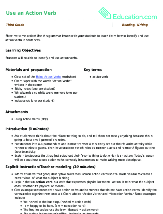 Use an Action Verb | Lesson plan | Education com