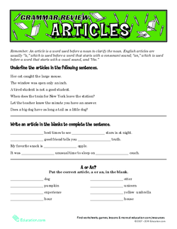 Grammar Review: Articles