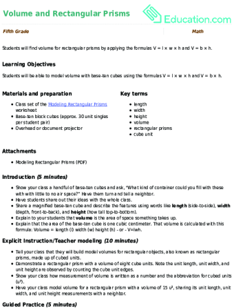 Volume And Rectangular Prisms Lesson Plan Education