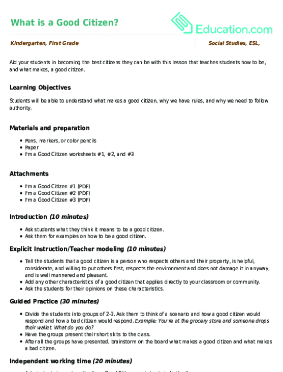 Worksheets Good Citizenship Worksheets what is a good citizen lesson plan education com