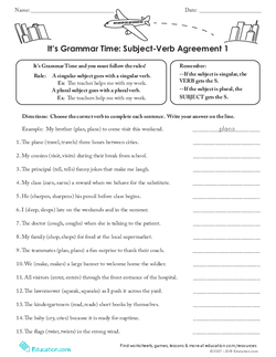 It's Grammar Time: Subject-Verb Agreement 1