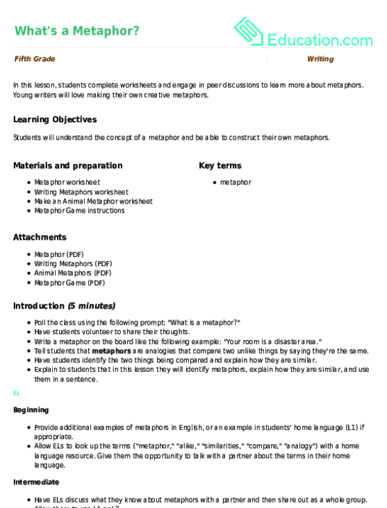 Whats a Metaphor Lesson Plan – Metaphor Worksheets Pdf