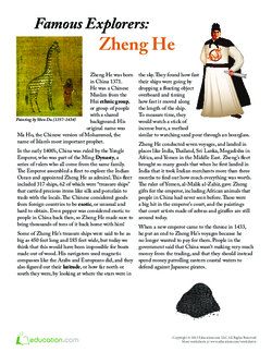 Zheng He Worksheet