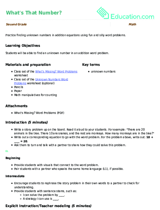 Whats That Number Lesson Plan Education Lesson Plan