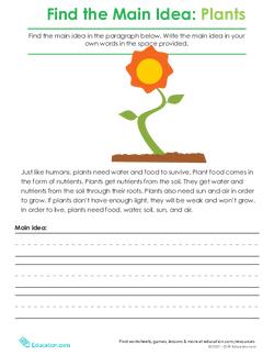 Finding the Main Idea: Plants