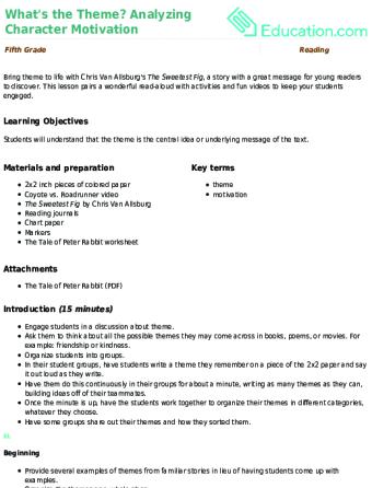 Worksheets Character Motivation Worksheet whats the theme analyzing character motivation lesson plan education com