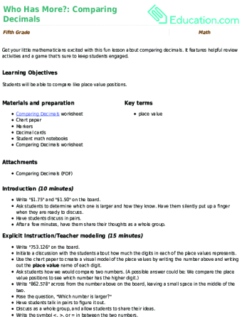 comparing decimals lesson plan educationcom - Comparing Decimals Worksheet