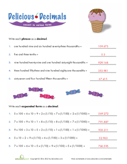 Decimals in Expanded Form Answers
