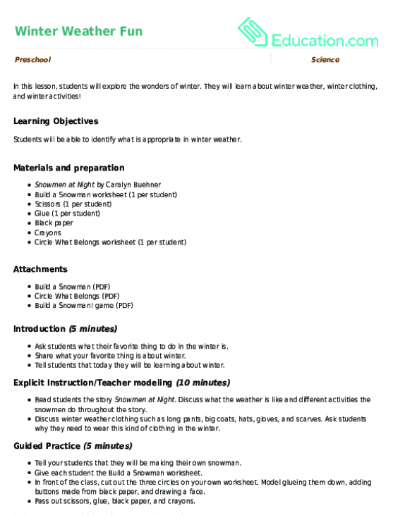 Winter Weather Fun Lesson Plan Education