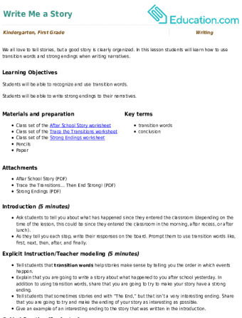 Write Me a Story | Lesson Plan | Education com | Lesson plan