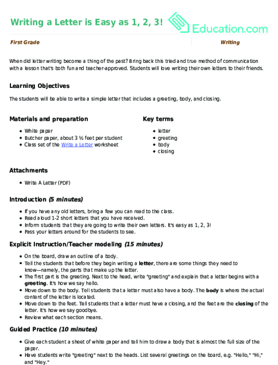 Writing A Letter Is Easy As Lesson Plan Educationcom - Simple lesson plan template for teachers
