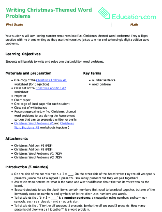 Writing Christmas-Themed Word Problems | Lesson Plan | Education.com