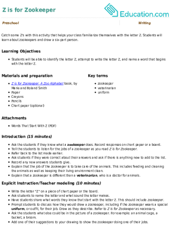 Z is for zookeeper lesson plan education spiritdancerdesigns Images