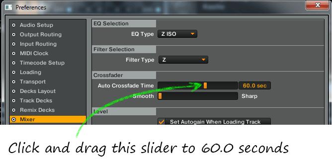 Crossfader Adjustment