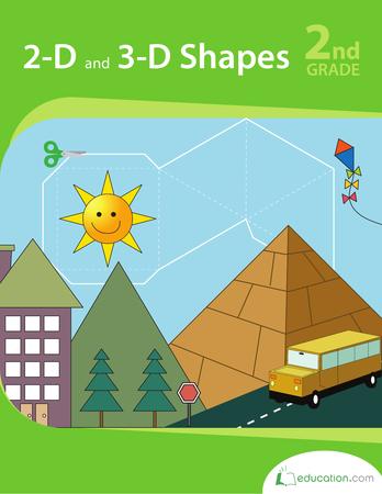Second Grade Math Workbooks: 2-D and 3-D Shapes