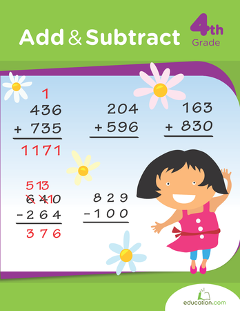 Fourth Grade Math Workbooks: Add and Subtract