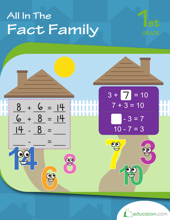 First Grade Math Workbooks: All in the Fact Family