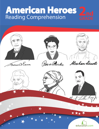Second Grade Reading & Writing Workbooks: American Heroes: Reading Comprehension