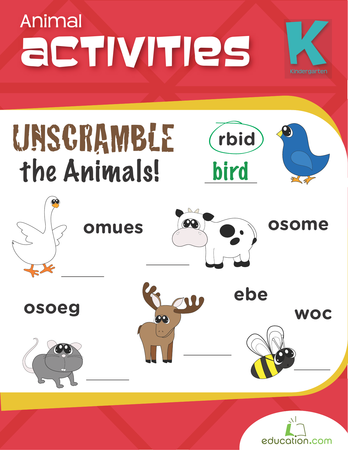 Kindergarten Math Workbooks: Animal Activities