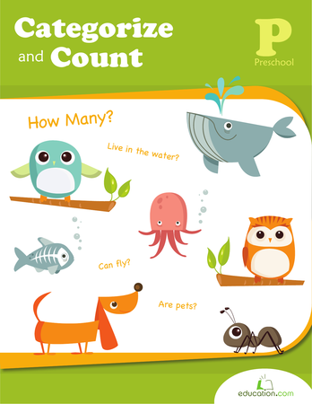 Preschool Math Workbooks: Categorize and Count