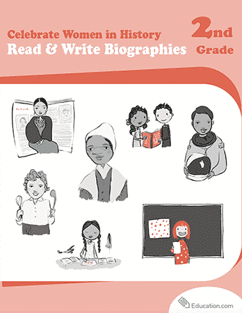 Second Grade Reading & Writing Workbooks: Celebrate Women in History: Read & Write Biographies