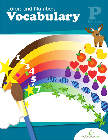 Preschool Math Workbooks: Colors and Numbers Vocabulary