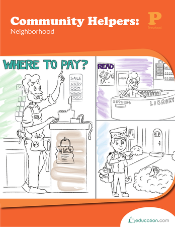 Preschool Math Workbooks: Community Helpers: Neighborhood