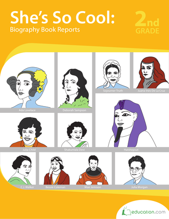 Second Grade Reading & Writing Workbooks: She's So Cool: Biography Book Reports
