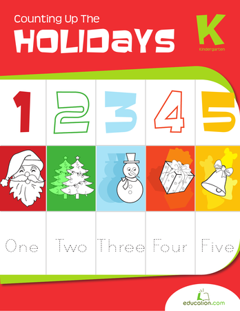 Kindergarten Math Workbooks: Counting up the Holidays