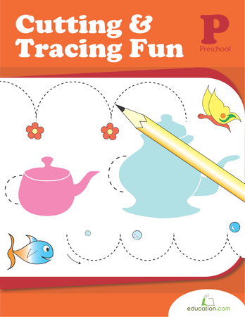 Preschool Math Workbooks: Cutting and Tracing Fun