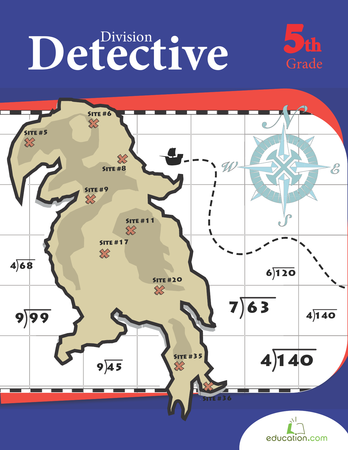 Fifth Grade Math Workbooks: Division Detective
