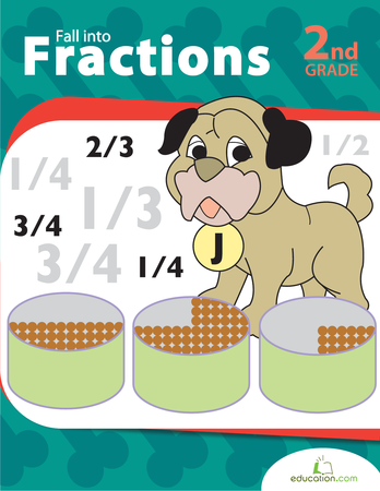 Second Grade Math Workbooks: Fall into Fractions