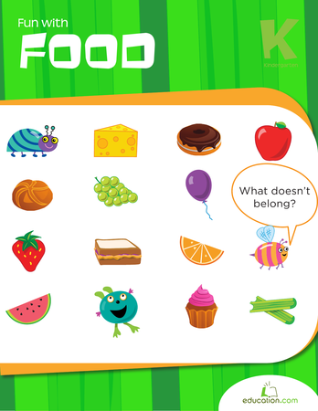 Kindergarten Reading & Writing Workbooks: Fun with Food