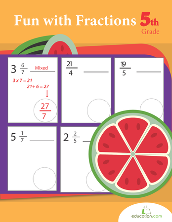 Fifth Grade Math Workbooks: Fun with Fractions