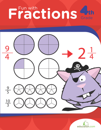 Fourth Grade Math Workbooks: Fun with Fractions