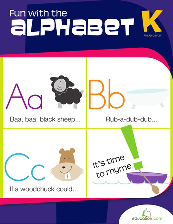 Kindergarten Math Workbooks: Fun with the Alphabet