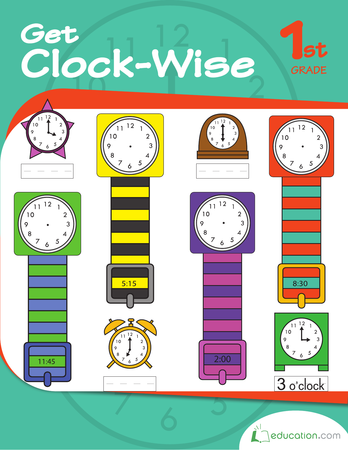 First Grade Math Workbooks: Get Clock-Wise