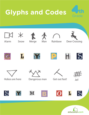 Fourth Grade Reading & Writing Workbooks: Glyphs and Codes