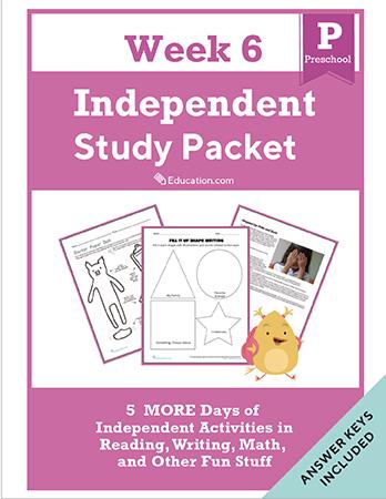 Preschool Reading & Writing Workbooks: Preschool Independent Study Packet - Week 6