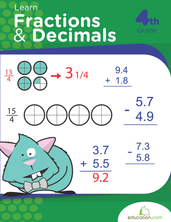 learn fractions and decimals  workbook  educationcom fourth grade math workbooks learn fractions and decimals