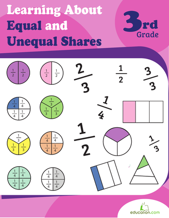 Second Grade Math Workbooks: Learning About Equal and Unequal Shares