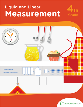 Fourth Grade Math Workbooks: Liquid and Linear Measurement