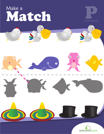 Preschool Math Workbooks: Make a Match