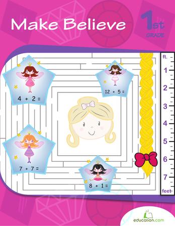First Grade Math Workbooks: Make Believe