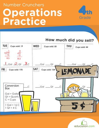 Fourth Grade Math Workbooks: Number Crunchers: Operations Practice